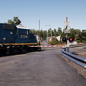 GP-38 In a railroad crossing