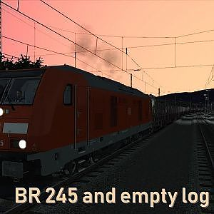 BR 245 and empty log wagons